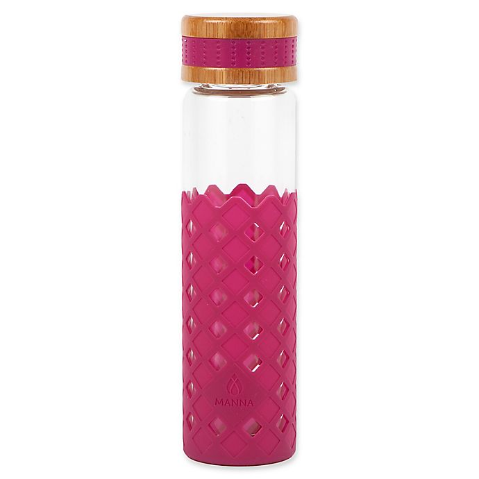 Alternate image 1 for Manna™ Wai® Diamonds 20 oz. Glass Water Bottle in Merlot
