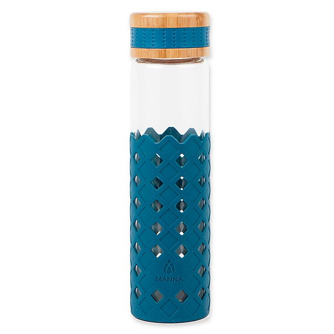 Alternate image 1 for Manna™ Wai® Diamonds 20 oz. Glass Water Bottle in Ocean Blue