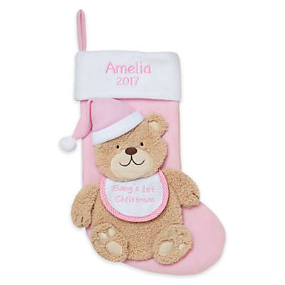 "Personalized Planet ""Baby's 1st Christmas"" Teddy Bear Stocking"