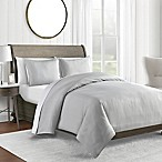 450-Thread-Count Full/Queen Duvet Cover Set in Grey Pinstripe