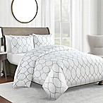 450-Thread-Count Full/Queen Duvet Cover Set in Grey Ogee