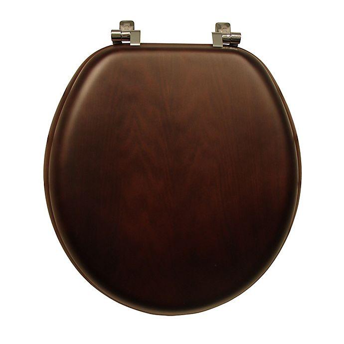 Alternate image 1 for Mayfair Round Veneer Wood Toilet Seat in Walnut