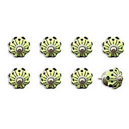 Knob-It Vintage Hand Painted 8-Pack Ceramic Knob Set in Yellow/Green/Black