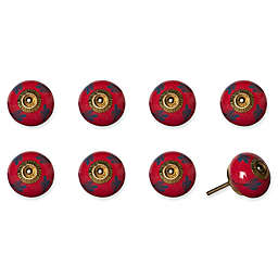 Knob-It Vintage Hand Painted 8-Pack Ceramic Round Knob Set in Coral/Blue/Gold