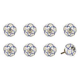 Knob-It Vintage Hand Painted 8-Pack Ceramic Round Knob Set in Cream/Brown/Blue/Silver