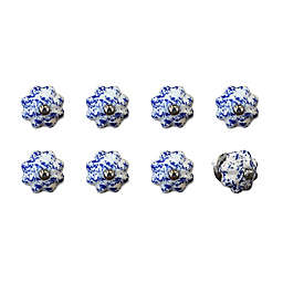 Knob-It Vintage Hand Painted 8-Pack Ceramic Knob Set in Blue/Navy/White
