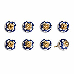 Knob-It Vintage Hand Painted 8-Pack Ceramic Round Knob Set in Blue/Black/Gold