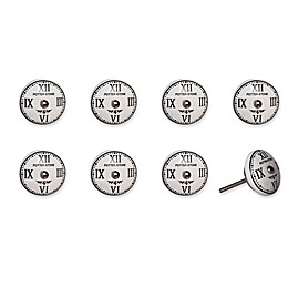 Knob-It Vintage Hand Painted 8-Pack Ceramic Round Knob Set in White/Black/Chrome