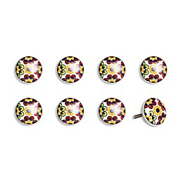 Knob-It! Vintage Hand Painted 8-Pack Ceramic Round Knob Set in Yellow