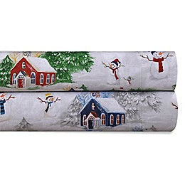 Tribeca Living 170 GSM Snowman Flannel Sheet Set