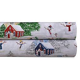 Tribeca Living 170 GSM Snowman Flannel Sheet Set
