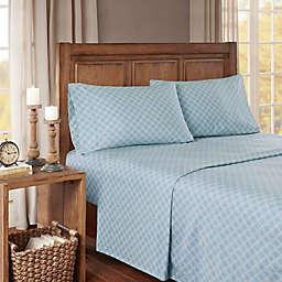 True North by Sleep Philosophy Cozy Geo Flannel Queen Sheet Set in Blue