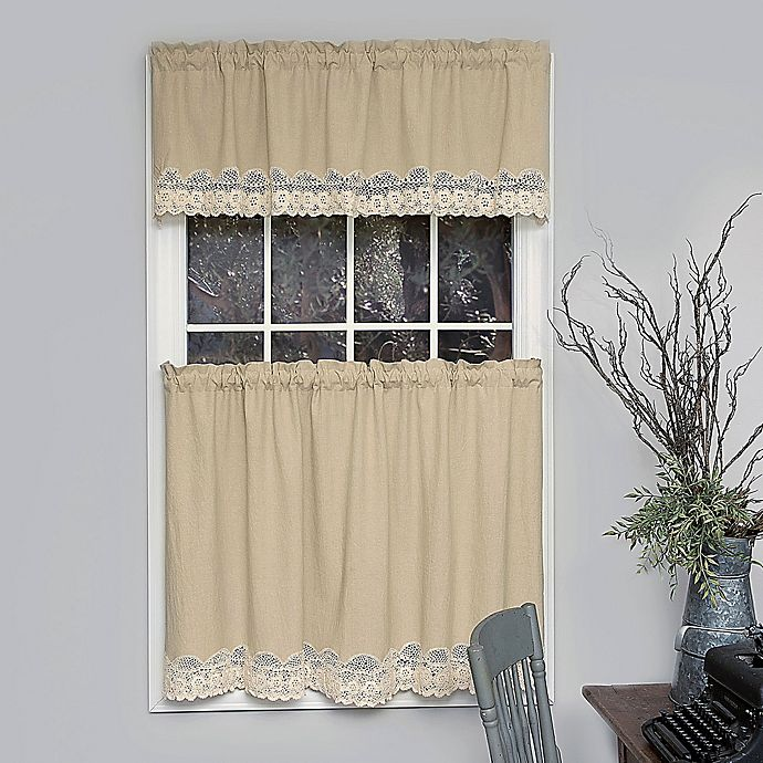 Heritage Lace Blue Ribbon Crochet Kitchen Curtain Tier Pair