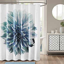 Madison Park Norah Cotton Percale Shower Curtain in Aqua