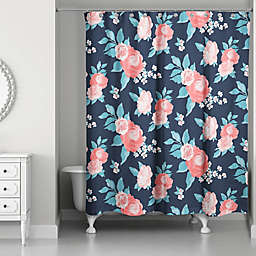 Designs Direct Florals Shower Curtain In Navy