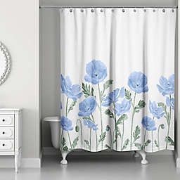 Designs Direct Wildflower Field Shower Curtain in Blue
