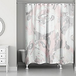 Designs Direct Abstract Flower Bouquet Shower Curtain in Pink