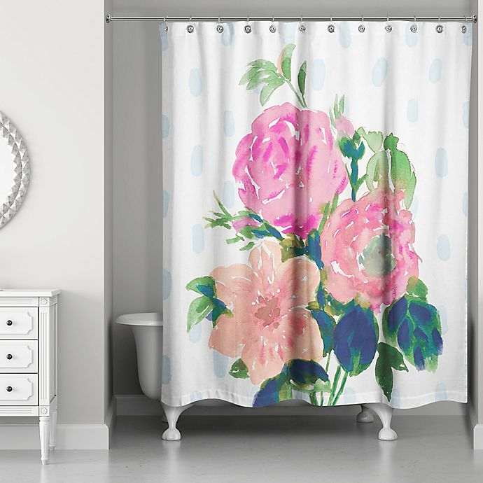 Designs Direct Watercolor Floral Bouquet Shower Curtain ...