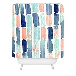 Deny Designs Social Proper Timing Is Everything Shower Curtain in Blue