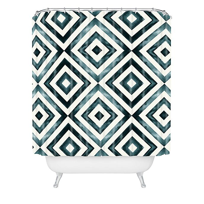 Alternate image 1 for Deny Designs Little Arrow Design Co Diamonds Shower Curtain in Blue