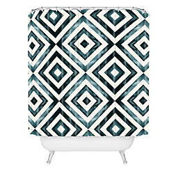 Deny Designs Little Arrow Design Co Diamonds Shower Curtain in Blue