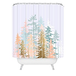 Deny Designs Blush Forest Shower Curtain in Green