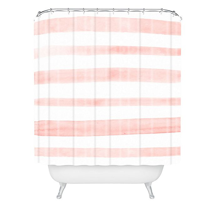 Alternate image 1 for Deny Designs Kelly Haines Pink Stripes Shower Curtain