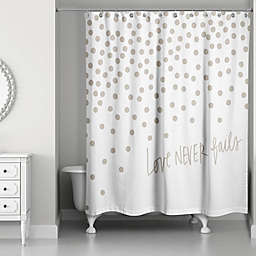 Designs Direct Love Never Fails 74-Inch x 71-Inch Shower Curtain in Grey