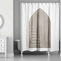 Designs Direct Love, Joy, Peace Words 74-Inch x 71-Inch Shower Curtain in Brown