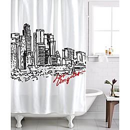 Izola Los Angeles Skyline Shower Curtain in White/Black