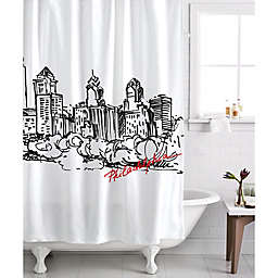 Izola Philadelphia Skyline Shower Curtain in White/Black