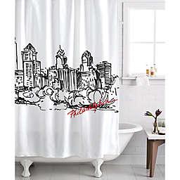 Izola Philadelphia Skyline Shower Curtain in White/Black