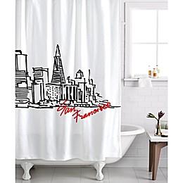 Izola San Francisco Skyline Shower Curtain in White/Black