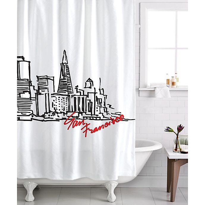 Alternate image 1 for Izola San Francisco Skyline Shower Curtain in White/Black