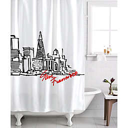 Izola San Francisco Skyline Shower Curtain in White/Black