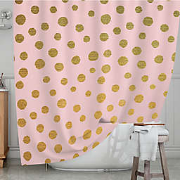 KESS InHouse® Golden Dots Shower Curtain in Pink