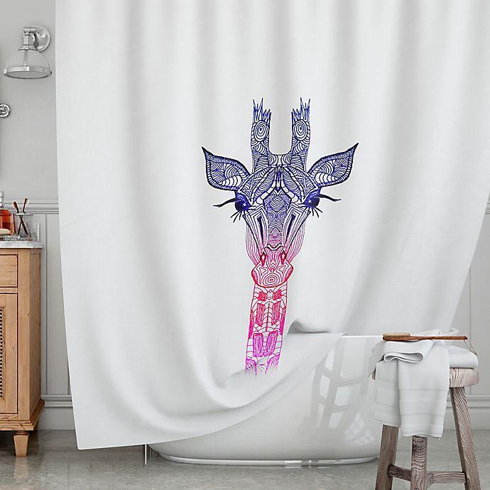 KESS InHouseR Rainbow Giraffe Shower Curtain