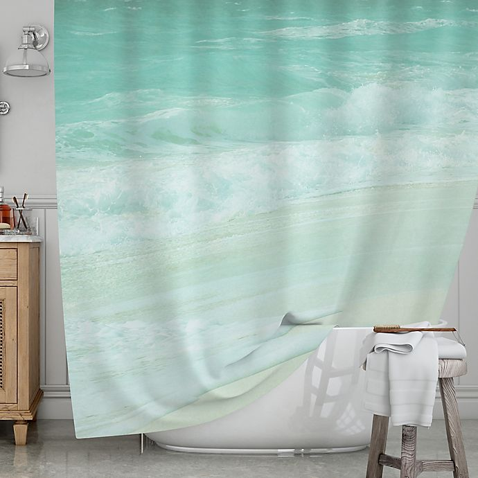 Alternate image 1 for KESS InHouse® Paradise Beach Shower Curtain in Mint