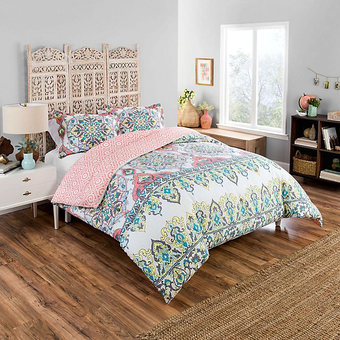 Alternate image 1 for Boho Boutique Rozella 2-Piece Reversible Twin XL Comforter Set in Coral