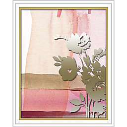 """Flower Silhouette"" 16-Inch x 20-Inch Shadowbox Wall Art in Silver/Pink"