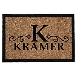 Infinity Monogram Letter K Kramer 3' x 6' Door Mat in Natural
