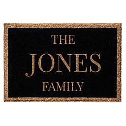 Infinity Door Mats Single Border Family Name 3' x 5' Door Mat in Black