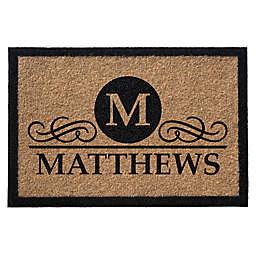 Infinity Monogram Letter M Matthews 3-Foot x 5-Foot Door Mat in Natural