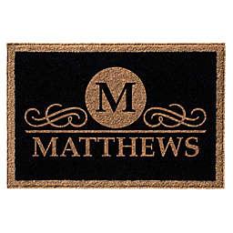 Infinity Monogram Letter M Matthews 3-Foot x 5-Foot Door Mat in Black