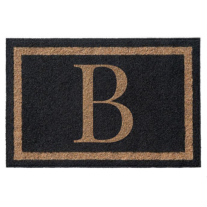 Alternate image 1 for Infinity Single Monogrammed 3-Foot x 5-Foot Door Mat in Black