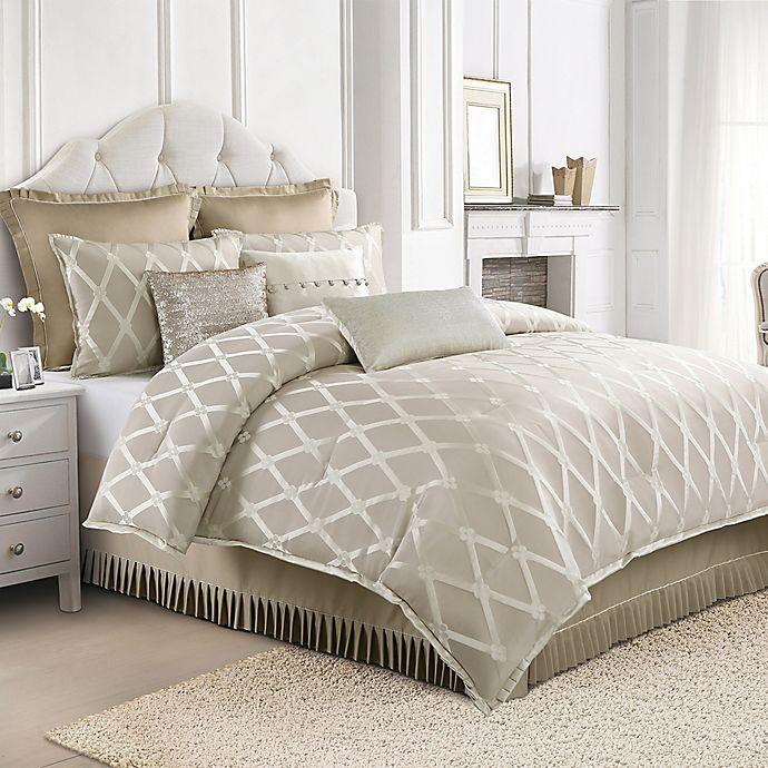 Alternate image 1 for Judith Ripka Clover Lattice King Comforter Set in Tan