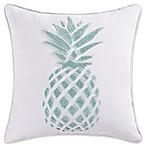 Coastal Living® Ocean Stripe Pineapple Square Throw Pillow in White/Blue