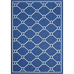 Nourison Waverly Sun & Shade Knot Indoor/Outdoor Area Rug in Navy