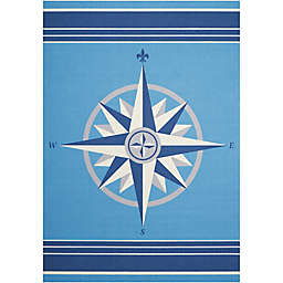 Nourison Waverly Sun & Shade Compass Rose Indoor/Outdoor Area Rug in Blue