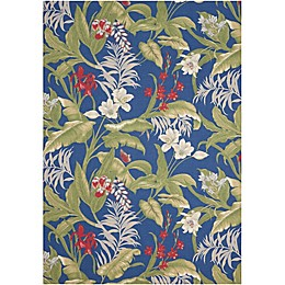 Nourison Waverly Sun & Shade Floral Indoor/Outdoor Area Rug in Aqua